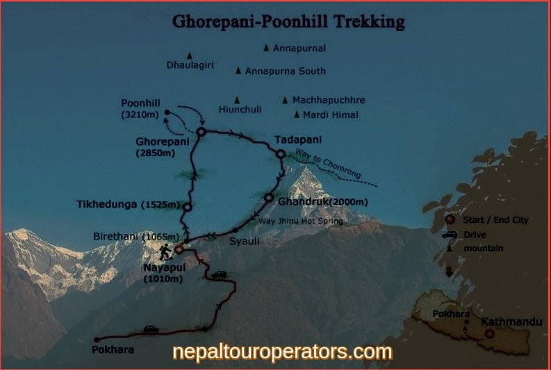 Ghorepani Poonhill Trekking Map