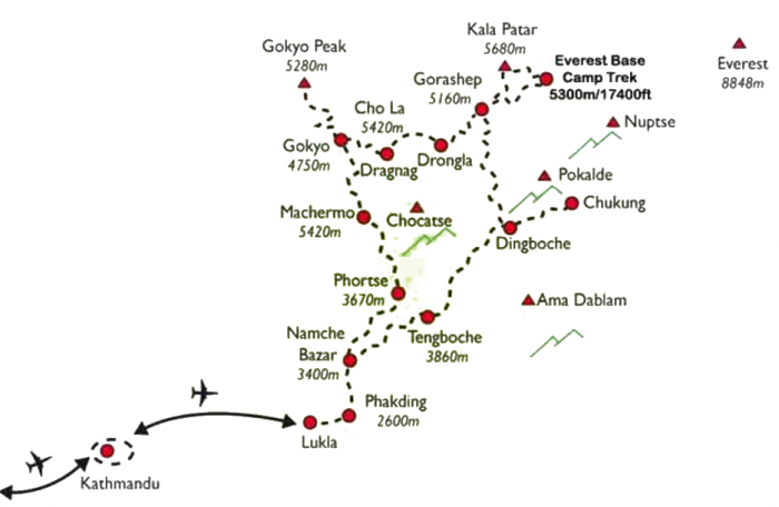 Everest Mani Rimdu Festival Trek Map