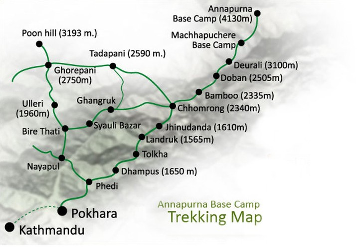 Annapurna View Trek Map