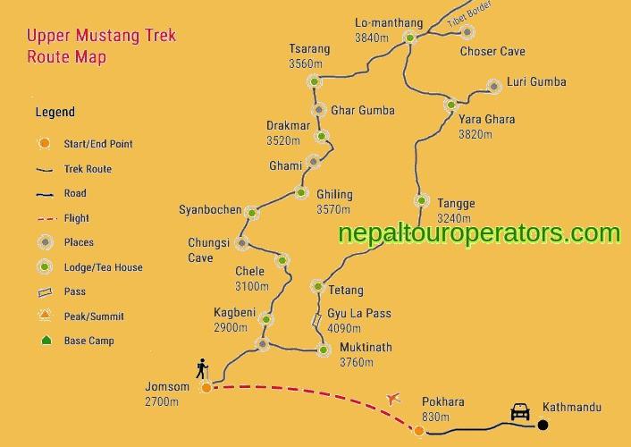 Mustang Tiji Festival Trek Map