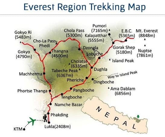 Everest Base Camp  Luxury Trek Map